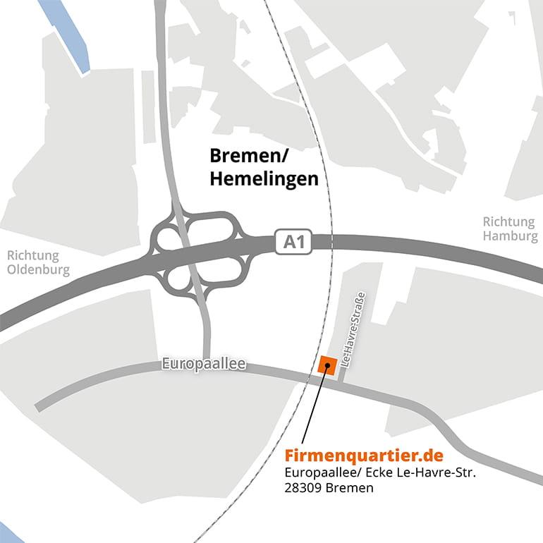 Anfahrtsskizze zum Firmenquartier Bremen-Hemelingen