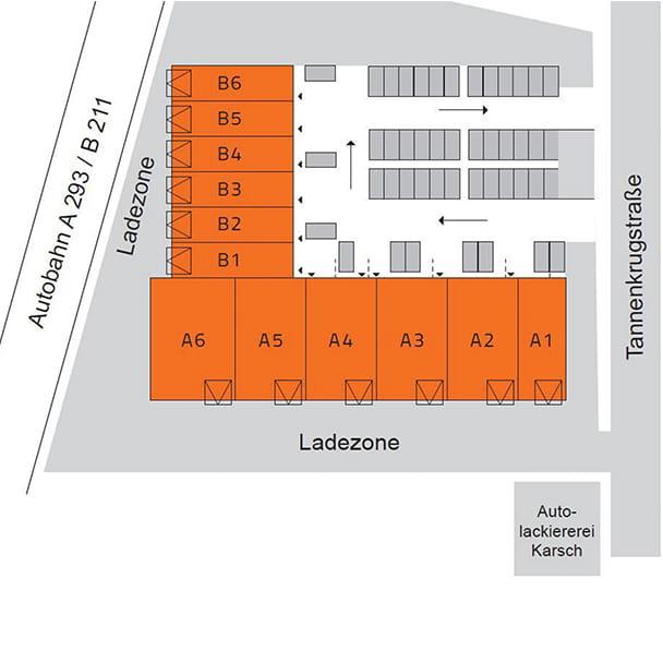 Übersichtsskizze des Firmenquartier Oldenburg-Nord