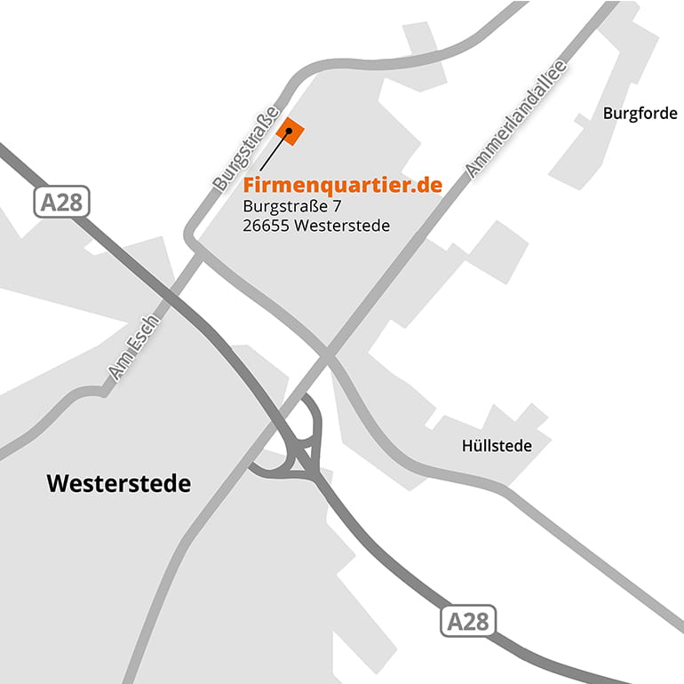 Anfahrtsskizze zum Firmenquartier Westerstede