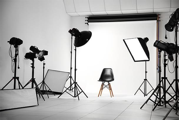 Blick auf ein Fotostudio im Firmenquartier