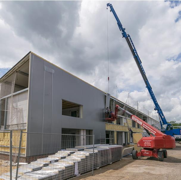 Außenansicht des Firmenquartier Bremen-Hemelingen während der Bauphase